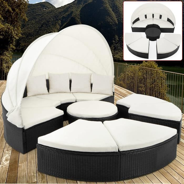 bain de soleil rond en polyrotin 230cm achat vente chaise longue bain de soleil rond. Black Bedroom Furniture Sets. Home Design Ideas