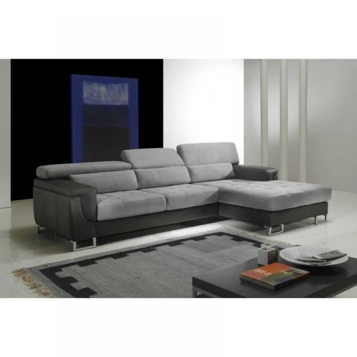 duplex canap d 39 angle droit cuir et microfibre achat vente canap sofa divan cuir. Black Bedroom Furniture Sets. Home Design Ideas