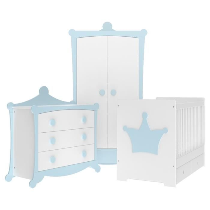 chambre b b couronne bleu tendre et blanche direct usine made in france achat vente. Black Bedroom Furniture Sets. Home Design Ideas