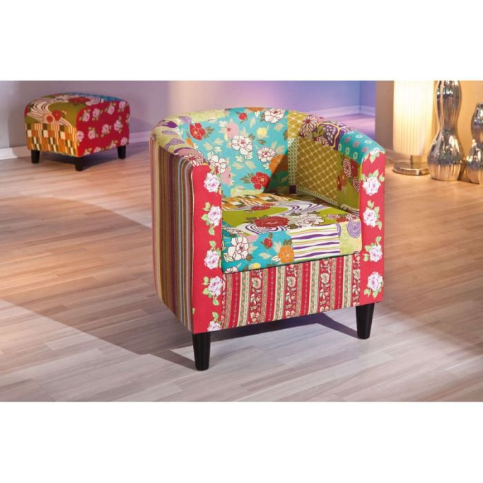 fauteuil cabrio multicolore achat vente fauteuil bois mdf coton cdiscount. Black Bedroom Furniture Sets. Home Design Ideas