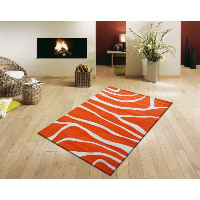 tapis paris salon orange et beige 160x230 cm achat vente tapis cdiscount. Black Bedroom Furniture Sets. Home Design Ideas