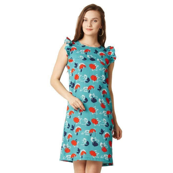 Womens Multicoloured Round Neck Sleeveless Floral Ruffled Mini Shift Dress SWH84 Taille-38