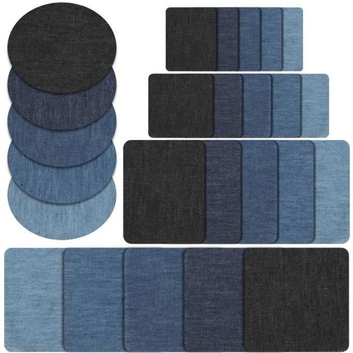 Pièce thermocollante percale marine 100/% coton 11,5 x 25 cm réparation vêtement