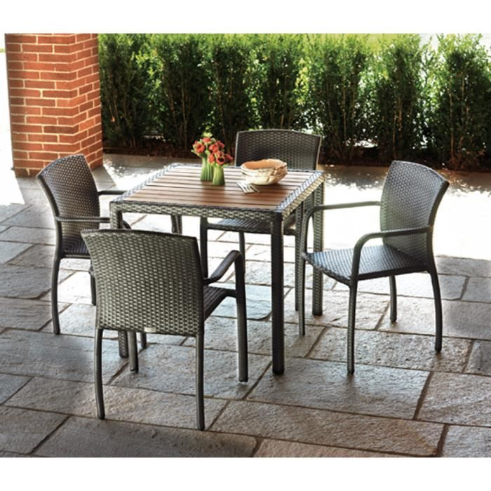 Salon jardin de table + 4 chaises avec accoudoirs - Achat ...