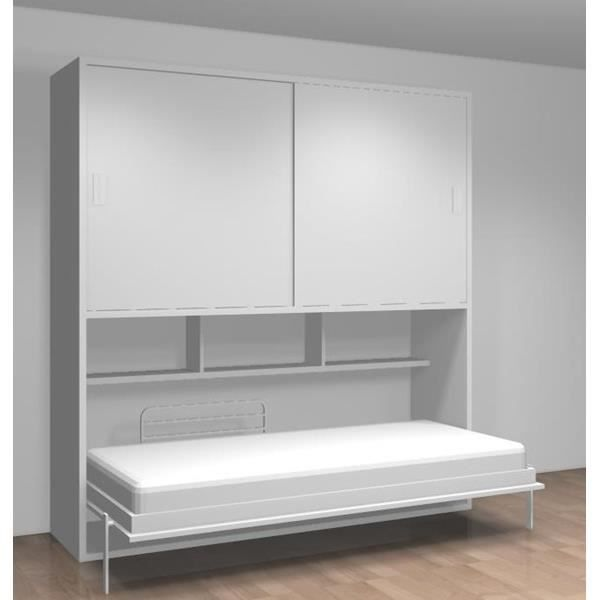 lit relevable dressing tag res teo 90x190 blanc achat vente lit escamotable soldes d. Black Bedroom Furniture Sets. Home Design Ideas