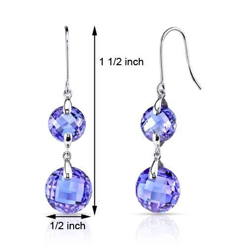 Boucles doreille -Or blanc 14ct-Alexandrite