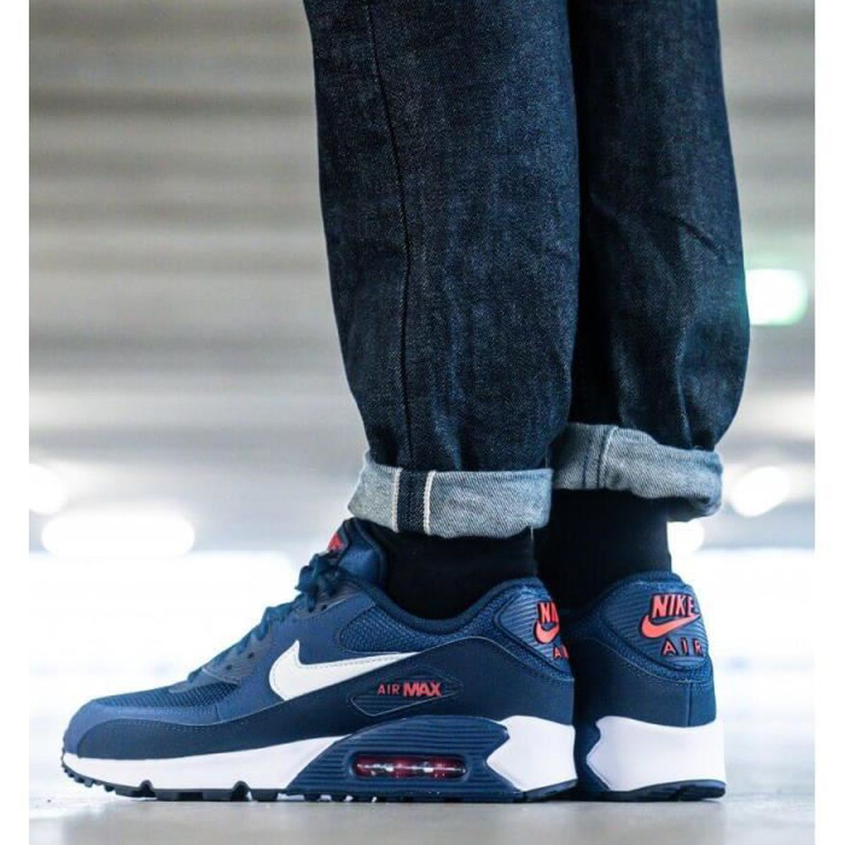 Baskets Nike Air Max 90 Essential Homme Bleu Running Chaussures ...
