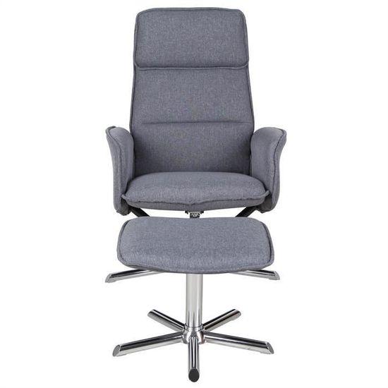 siège inclinabletissu design Fauteuil anthracite moderne relaxation relax pivotant avec repose piedspouf dossier gris RENO de et QBroCeWdx