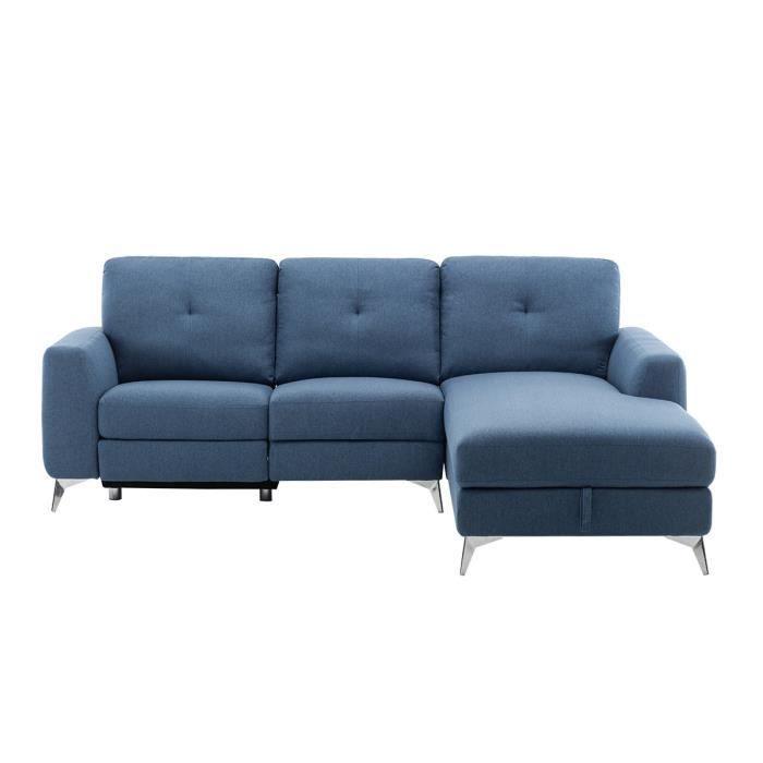 Canapé d'angle droit avec 1 place relax électrique + coffre et port USB - Tissu Bleu - L 260 x P 51 x H 90 cm - FRANKLIN