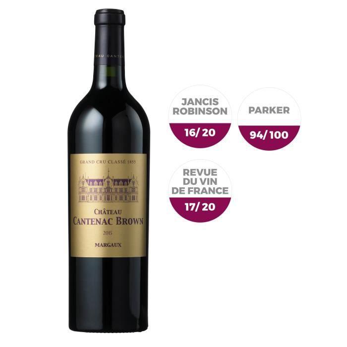 Magnum Château Cantenac Brown 2015 Margaux Grand Cru - Vin rouge de Bordeaux