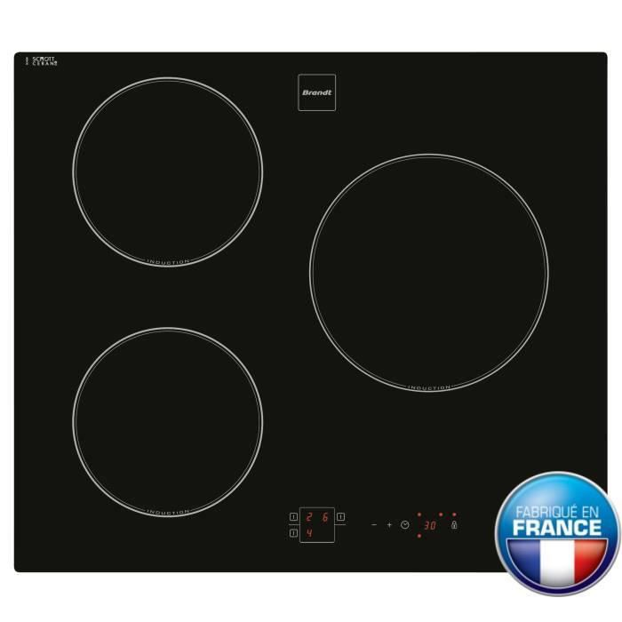 brandt ti14b table de cuisson induction 3 zones 5900w l58xp51cm rev tement verre noir achat. Black Bedroom Furniture Sets. Home Design Ideas