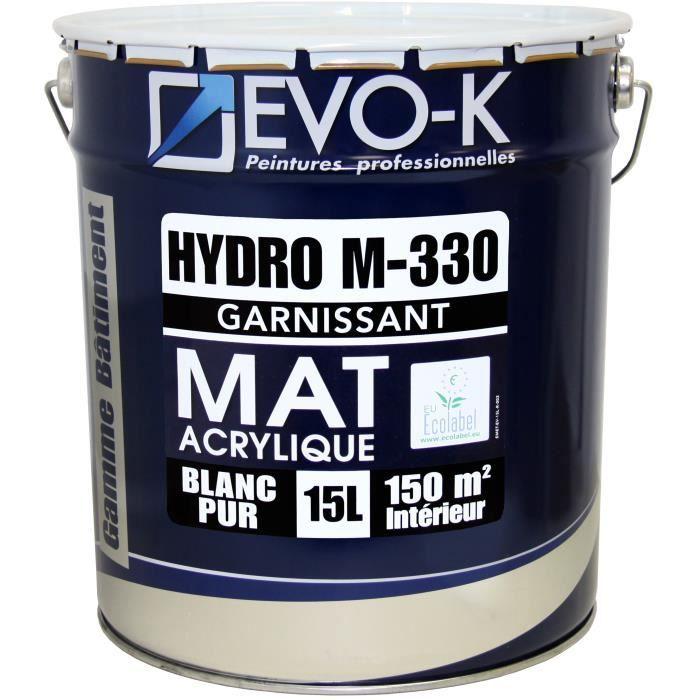 Evo K Peinture Professionnelle Monocouche Murs Et Plafonds Hydro M330 15 L Blanc Mat Blanc Lessivable