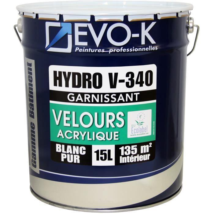 Evo K 15l Peinture Professionnelle Monocouche Murs Et Plafonds Hydro V340 Acrylique Blanc Velours