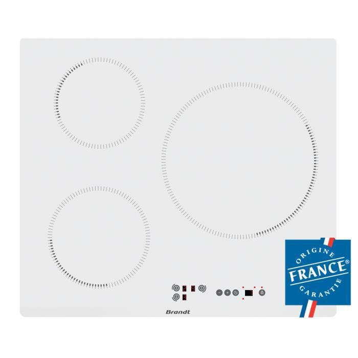 Brandt bpi6315w table de cuisson induction 3 zones - Table induction blanche 3 foyers ...