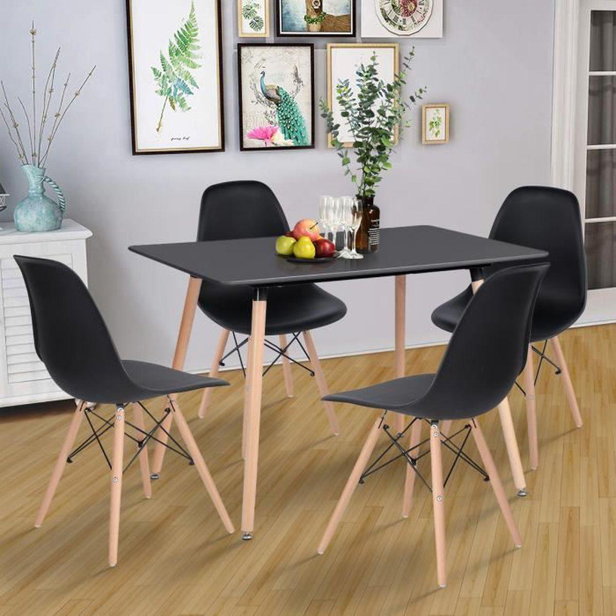 ronde et noir Table bois SqMVpUz