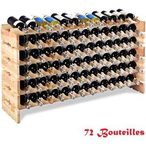 MEUBLE RANGE BOUTEILLE Étagère à Vin Casier à 72 Bouteilles en Bois de Pi
