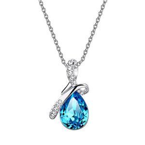 SAUTOIR ET COLLIER Scintillant Teardrop CZ pendentif diamant Collier
