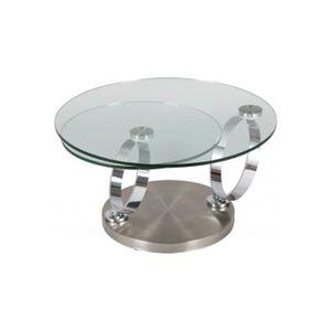 TABLE BASSE Table basse ronde en verre socle inox