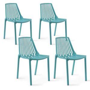 FAUTEUIL JARDIN  Lot de 4 chaises de jardin en plastique Lagon