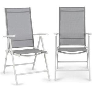 SALON DE JARDIN  Blumfeldt Almeria Lot 2 chaises de jardin pliantes