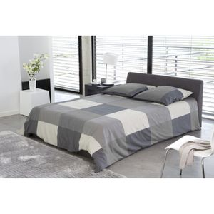 cosmo lit complet avec coffre gris 160x200 cm achat vente structure de lit cosmo lit complet. Black Bedroom Furniture Sets. Home Design Ideas