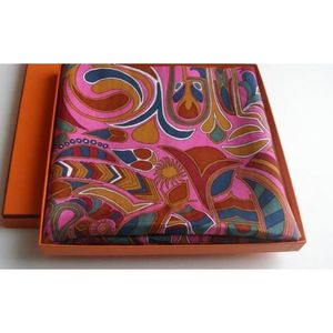 12531caade27 FOULARD HERMES CACHEMIRE FOLKLORE Rose - Achat   Vente echarpe ...