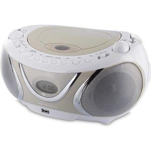 RADIO CD CASSETTE METRONIC 477116 Radio cd mp3 casual - Blanc et crè