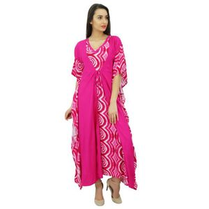 ROBE Bimba Femmes longues Maxi Kimono Kaftan Magenta De