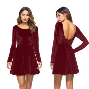 ROBE Sexy Femmes Robe à Manches Longues Robe Dos Nu Soi dee1f09294eb