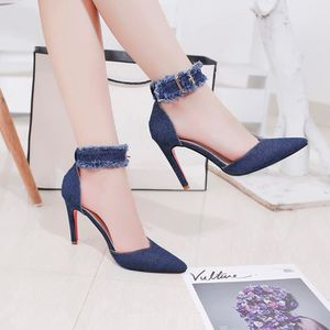 ESCARPIN Femmes Mode Denim solide fine talon pointu Moraill