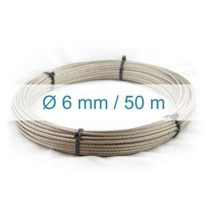 Cable 5mm inox 316 Souple 7x7 inox 316 Couronne 10m A4 Longueur 10m 20m 50m 70m 100m Rouleau 100m 250m