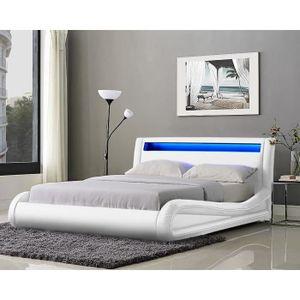 STRUCTURE DE LIT NEPTUNE Lit adulte avec LED contemporain blanc + s