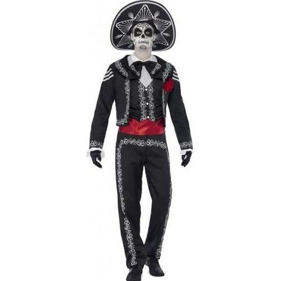Déguisement Homme SQUELETTE gris XL Adulte Magicien Halloween NEUF Pas cher