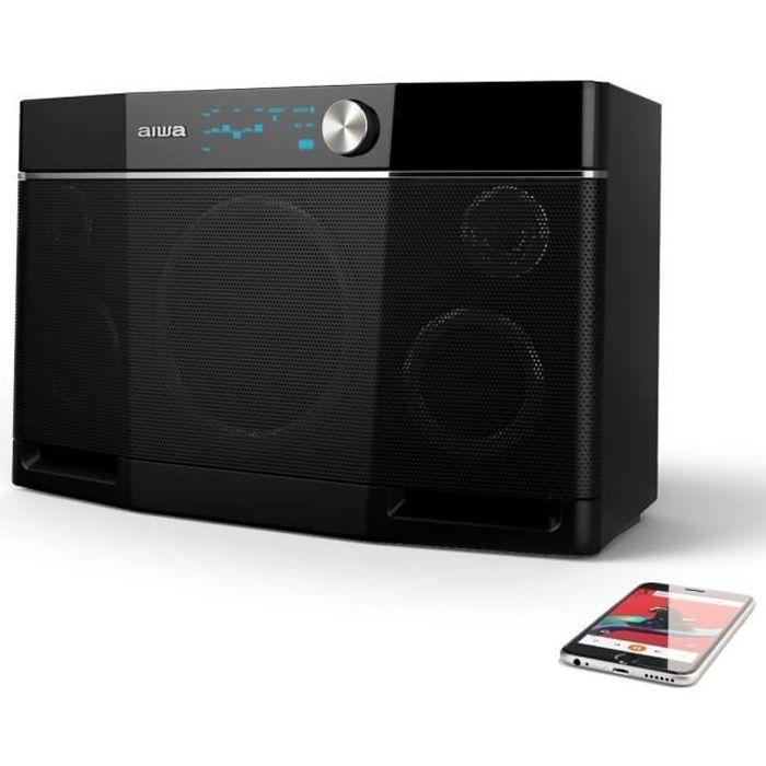 Aiwa Exos-9 Enceinte Bluetooth, Boombox Extérieure, 6.5'' Subwoofer, 9 Heures de Jeu - Noir