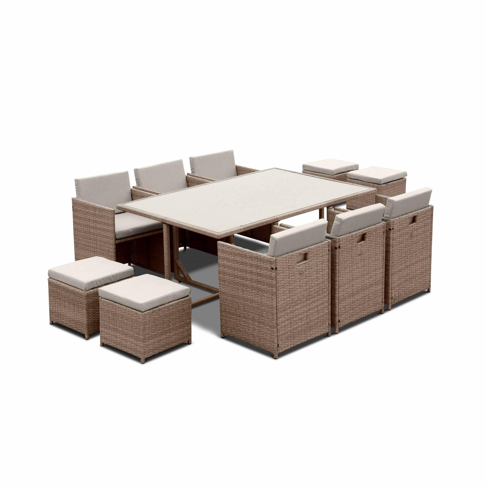 Salon de jardin 6-10 places - Vabo - Coloris Beige, Coussins beige, table encastrable.