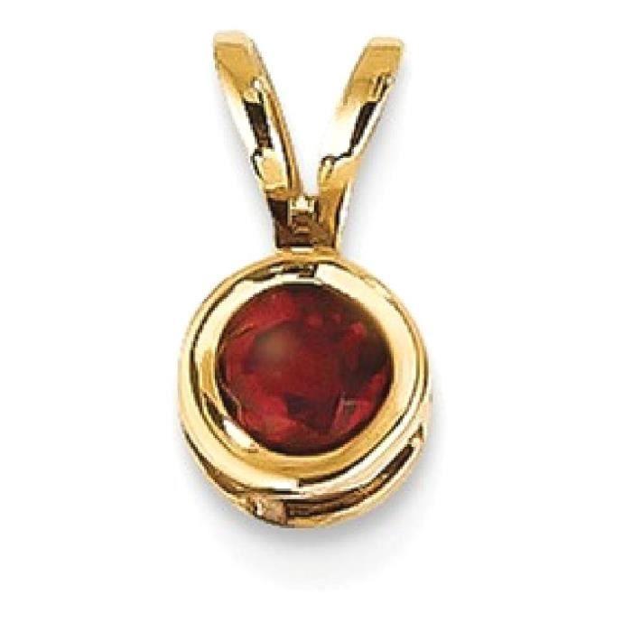Chaine De Cou Vendue Seule OJGXU Femmes 14k or jaune 4 mm Bezel Rouge Grenat Pendentif avec pendentif pierres précieuses Fine Jewel