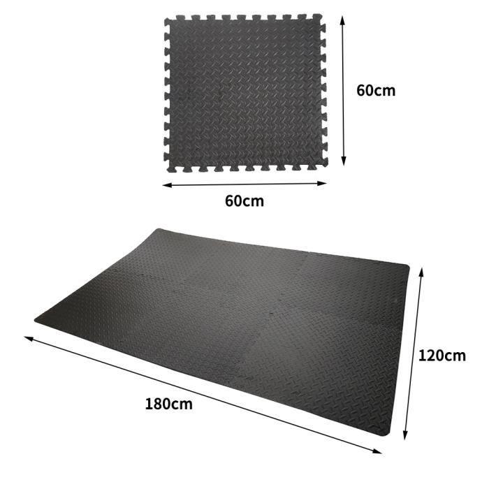 6pcs dalles mousse doux Tapis pour yoga/sport Puzzle tapis de sol Tapis de gym-63x63 cm