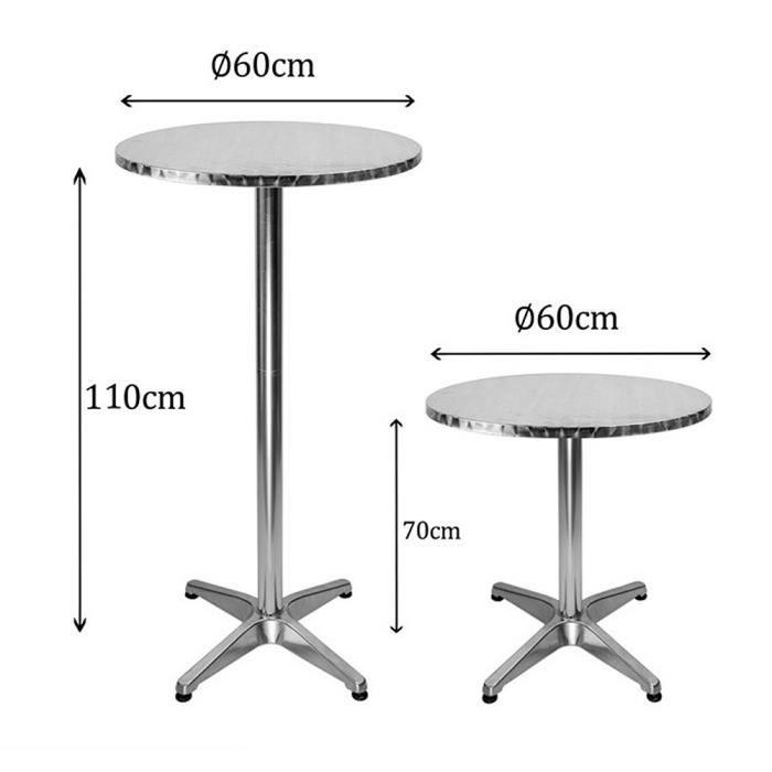 THUAGUIY Table de Bar Table debout Table haute Table à manger Ronde Extérieur/Intérieur En acier inox 60*60*70/110cm