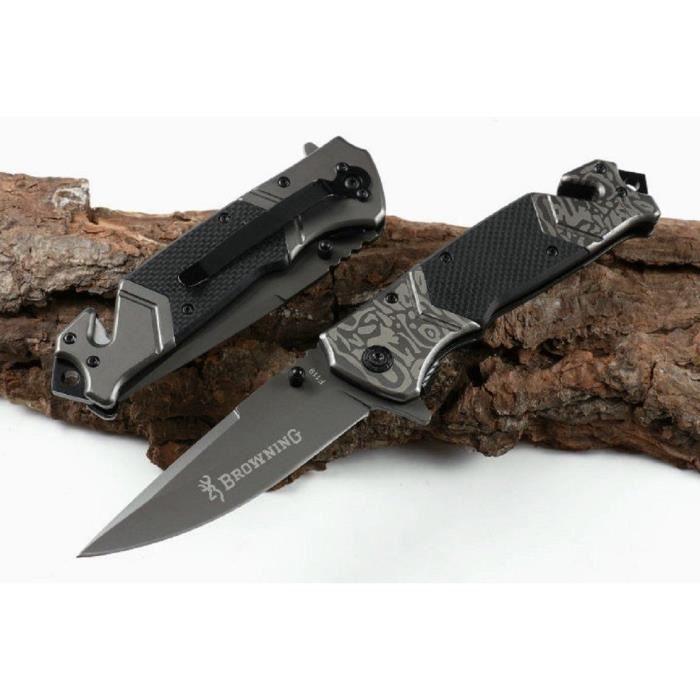 Couteau De Sauvetage Browning Manche Acier Style Damas 12,5 Cm Outdoor - LaPetiteCaverne