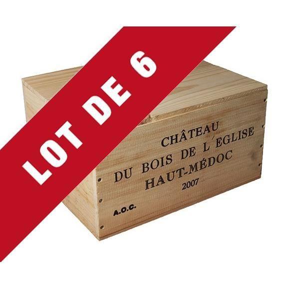 6X La Caisse Bois 6x75cl estampillé Château Bois de l'Eglise - coffret