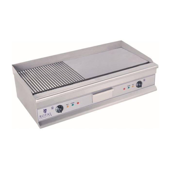 Plancha électrique nervurée - 100cm - 2 x 3.2kW acier inox professionnel 3614047