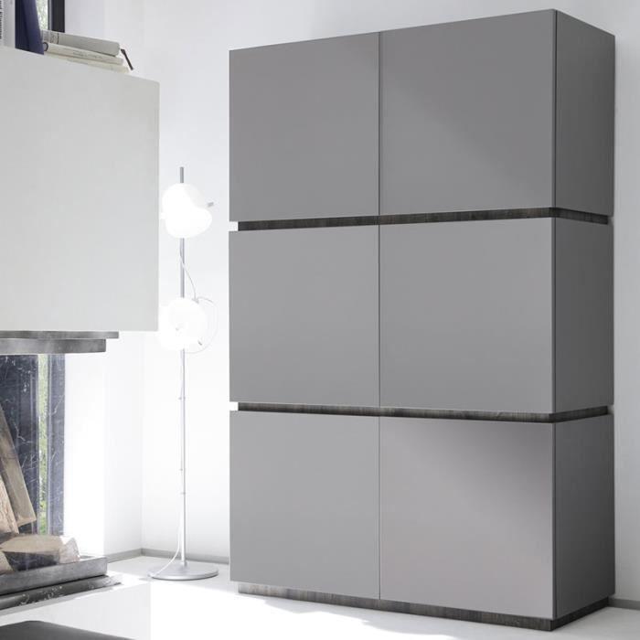 Buffet haut design 6 portes gris mat laqué VALERONA Option 2