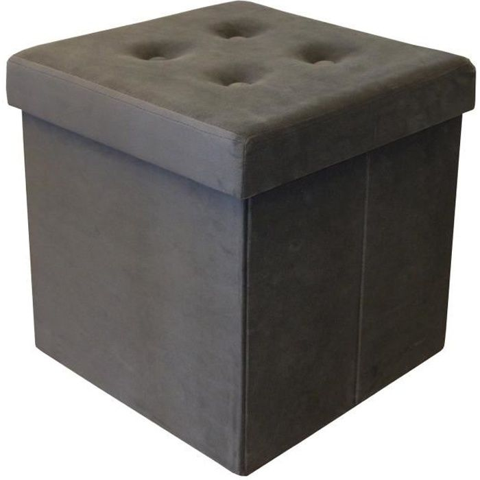 COTTON WOOD Pouf Coffre pliable Velours - 35 x 35 x 35 cm - Gris