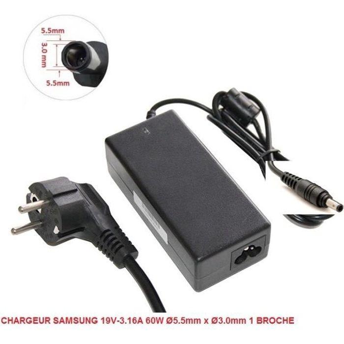 Chargeur Alimentation Compatible Pour Samsung 19V 3.16A 60W / Ø5.5Mm x Ø3.0Mm 1 Broche