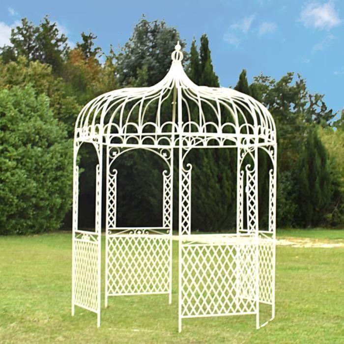 Gloriette Kiosque Tonnelle en Fer de Jardin Blanc ø200 cm