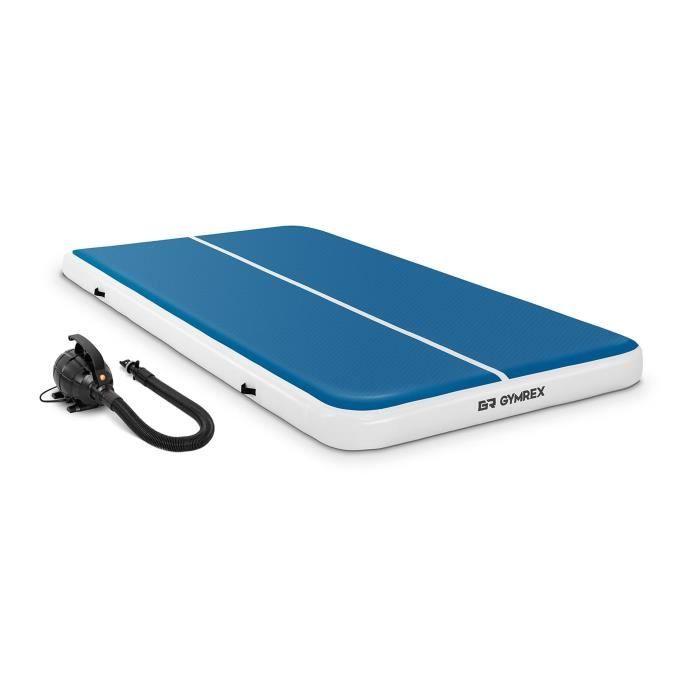 Tapis de Gym Kit Airtrack Gonflable Matelas de Tumbling Gymrex GR-ATM8-SET (300x200x20cm 300 kg 10 PSI / 07 bar Bleu/Blanc)