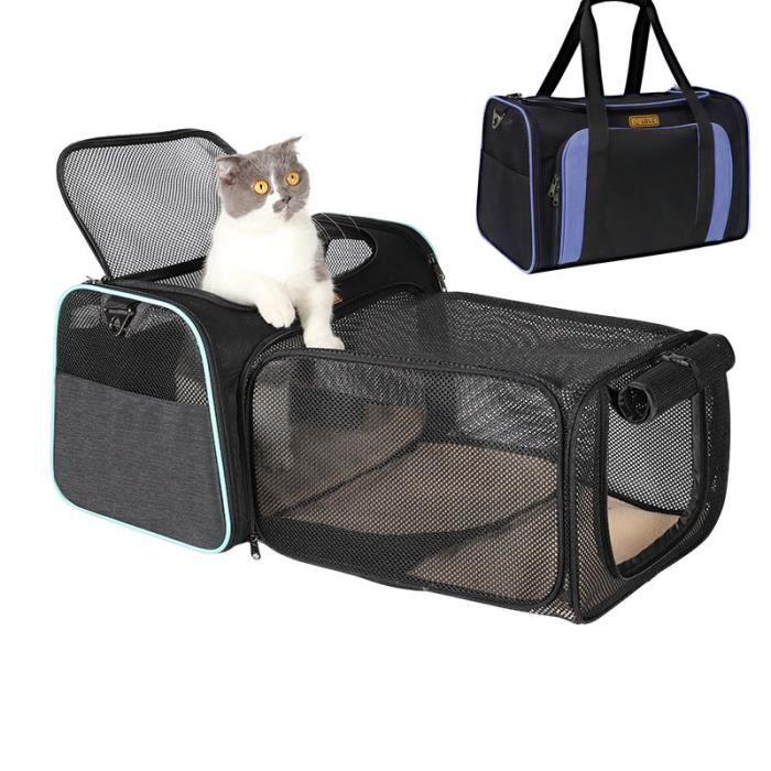 Sac de transport,Sac pour animaux de compagnie Cage d'extérieur respirante pour chats, sacs à bandoulière pour - Type QS-029-blue