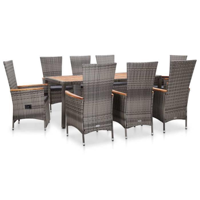 Salon de jardin 1 table AVEC 8 chaises à dossier haut avec coussins Résine tressée Gris