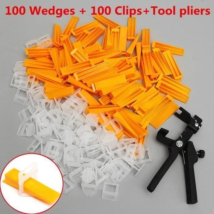 100x Clip + 100x Coin+Pince Carrelage Plancher Tuile Nivellement Niveau Système Aw31113
