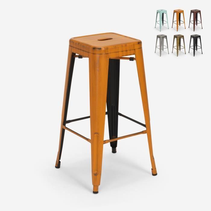 Tabouret vintage en métal design industriel pour bar et cuisine style Tolix Steel Stale, Couleur: Orange